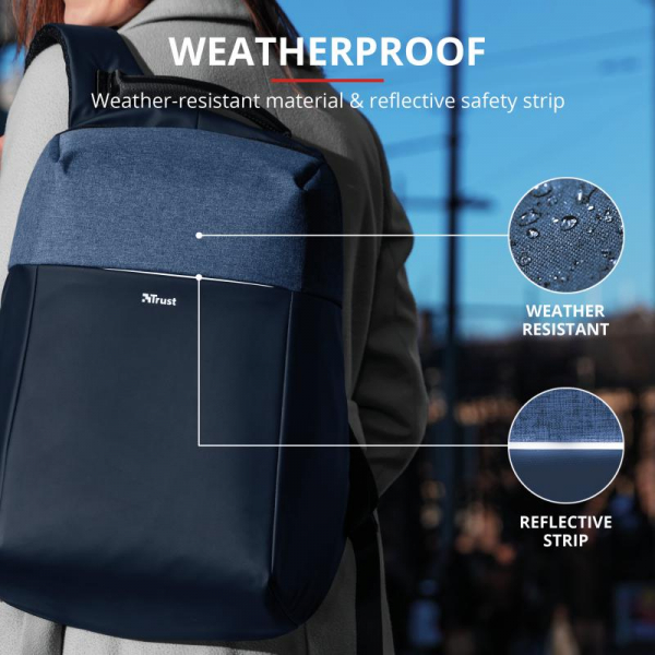 "Trust Nox Anti-theft Backpack 16"" Blue [9]"
