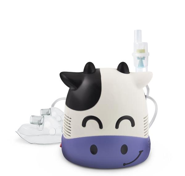Aparat de aerosoli nebulizator cu aspect de vacuta pentru copii si pentru adulti, cu compresor, kit complet de accesorii inclus 1