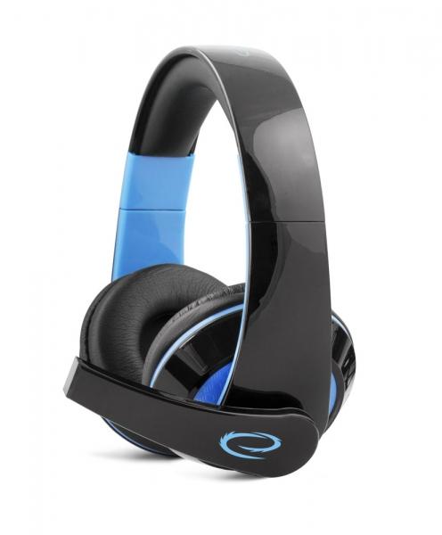 Casti stereo cu microfon, control de volum pe fir pentru gamers, Condor albastru conexiune jack 3.5 mm 0