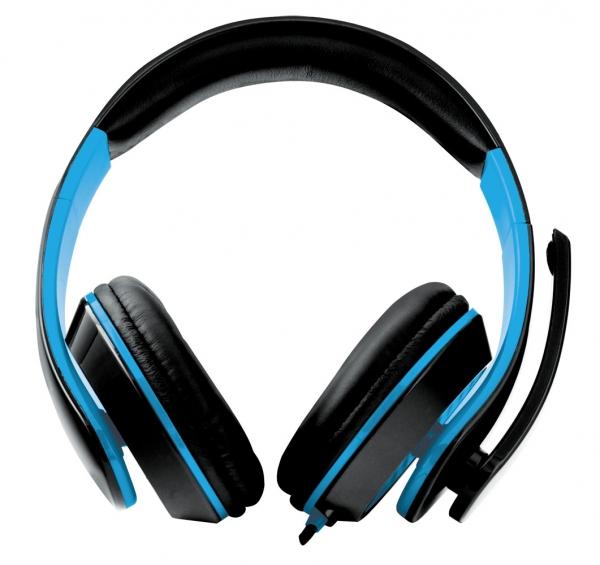 Casti stereo cu microfon, control de volum pe fir pentru gamers, Condor albastru conexiune jack 3.5 mm 1