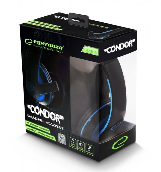 Casti stereo cu microfon, control de volum pe fir pentru gamers, Condor albastru conexiune jack 3.5 mm 3