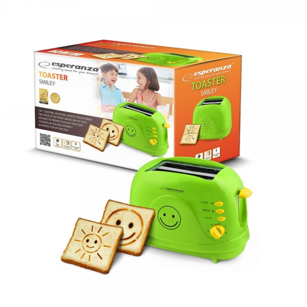 Prajitor de paine toaster cu modele Smiley cu 3 functii de la 1 pana la 7 grade diferite de prajire de la moale pana la crocant oprire automata 0