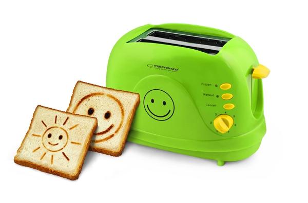 Prajitor de paine toaster cu modele Smiley cu 3 functii de la 1 pana la 7 grade diferite de prajire de la moale pana la crocant oprire automata 1