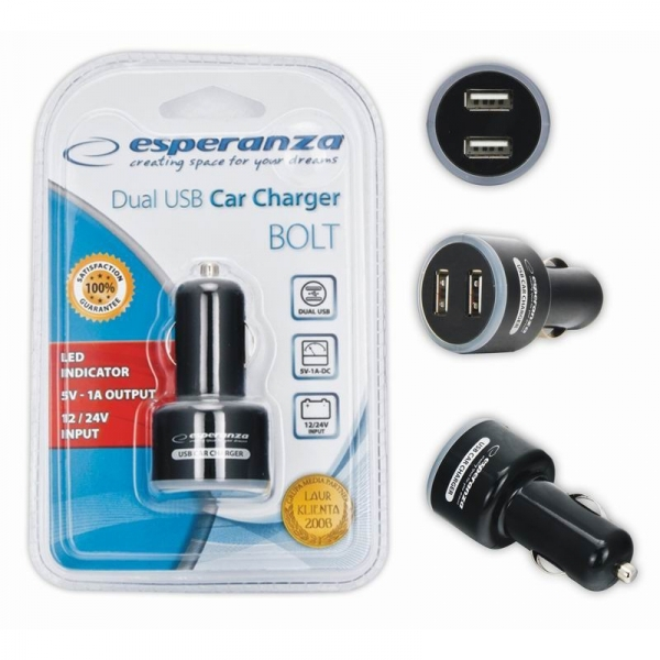 Incarcator auto USB cu 2 intrari si indicator LED, 5V 1A, Negru [1]