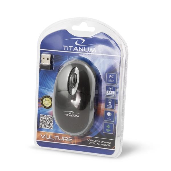 Mouse wireless 3D optic, Titanum Vulture, 1000dpi, 2.4GHz, cu forma ergonomica, 3 butoane, negru-gri 1