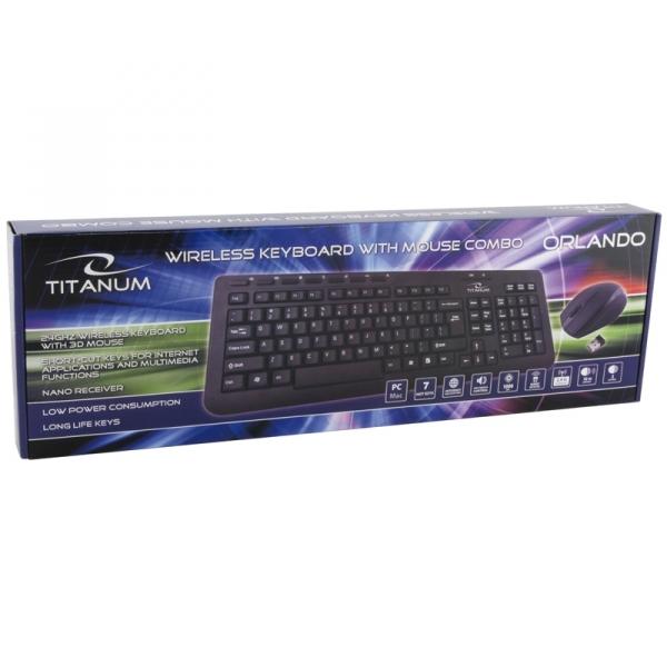 Tastatura si Mouse set 3D wireless 2.4GHz, Titanum Orlando, negru, nano receiver, consum redus de energie, taste rezistente imprimare in material [3]