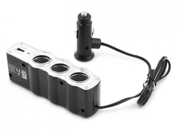 Incarcator telefon si dispozitive mobile port  USB  pentru Auto cu splitter 3 iesiri prize bricheta pentru folosirea concomitenta a aparatelor 1