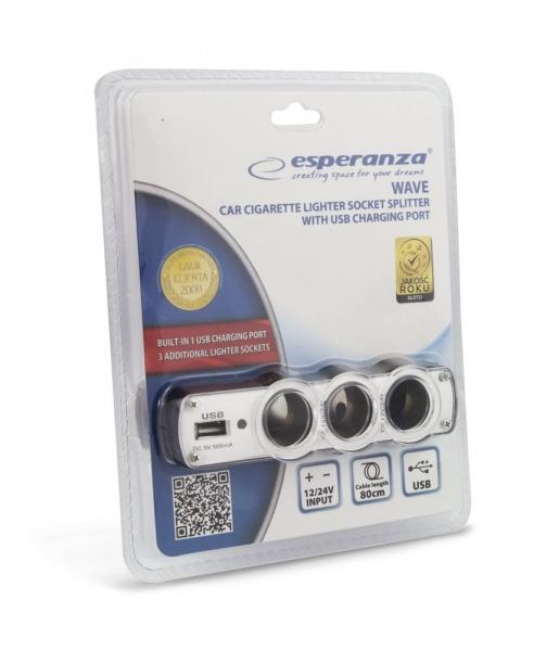 Incarcator telefon si dispozitive mobile port  USB  pentru Auto cu splitter 3 iesiri prize bricheta pentru folosirea concomitenta a aparatelor 3