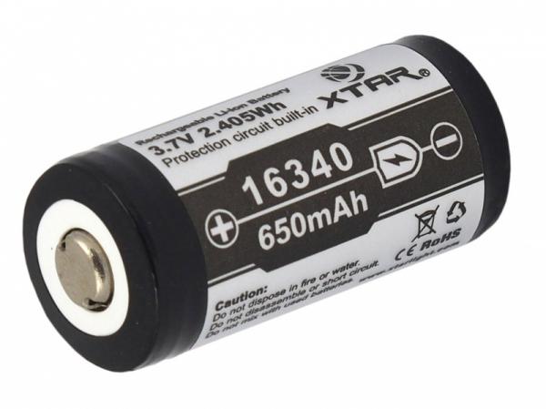 Set Acumulator  Litiu-ion Xtar 16340, CR 123 de 3,7 V 650 mAh  de putere mare cu destinatii profesionale sau uz personal 0