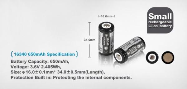 Set Acumulator  Litiu-ion Xtar 16340, CR 123 de 3,7 V 650 mAh  de putere mare cu destinatii profesionale sau uz personal 1