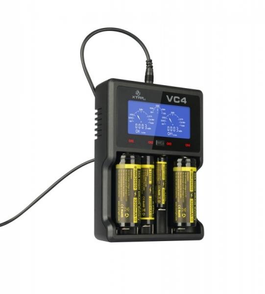 Incarcator universal profesional VC4, display LCD, afisaj si control al nivelului de incarcare, pentru  acumulatori AA (R06), AAA (R03), R14 (C), R20 (D), acumulatori pentru tigari electronice (18650) 1