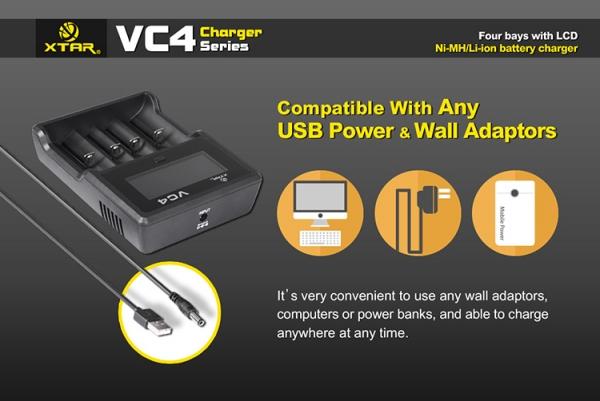 Incarcator universal profesional VC4, display LCD, afisaj si control al nivelului de incarcare, pentru  acumulatori AA (R06), AAA (R03), R14 (C), R20 (D), acumulatori pentru tigari electronice (18650) 2