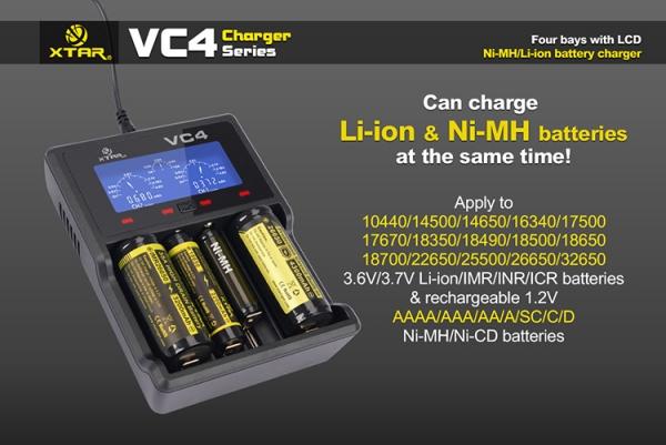 Incarcator universal profesional VC4, display LCD, afisaj si control al nivelului de incarcare, pentru  acumulatori AA (R06), AAA (R03), R14 (C), R20 (D), acumulatori pentru tigari electronice (18650) 0
