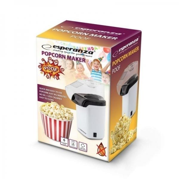 Aparat pentru preparare popcorn , floricele de porumb, cu aer cald, fara ulei sau grasimi, in conditii ECO usor de utilizat putere 1200W capacitate 0,27 litri design ergonomic 0