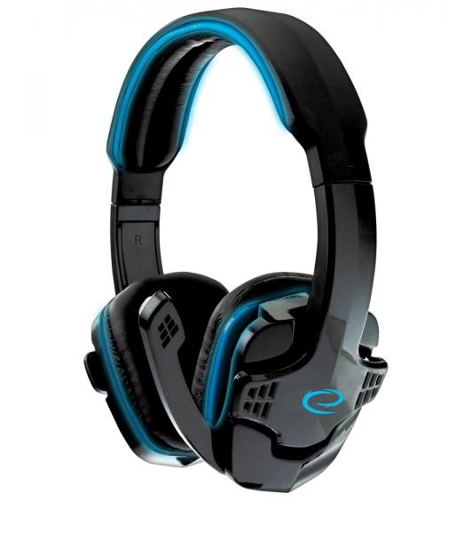 Casti stereo etansare perfecta pe urechi cu microfon, pentru gaming si muzica, Raven Gaming Albastru design modern conectare 2 x jack 3.5 [0]