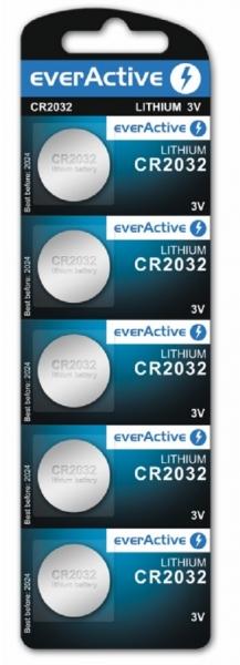 Baterii lithium CR2032 3V everActive 5 buc la blister, pentru telecomenzi auto, calculatoare de birou, cantare electronice 0