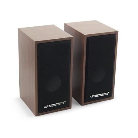 Boxe stereo conectare USB pentru laptopuri notebook-uri, desktop-uri sau alte dispozitive, fabricatie din lemn design clasic culoare cires 1