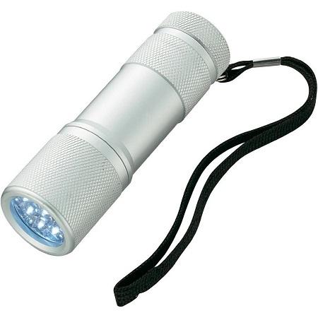 Lanterna  din aluminiu cu 9 LED-uri superluminoase, rezistenta la socuri si umezeala culoare argintie 0