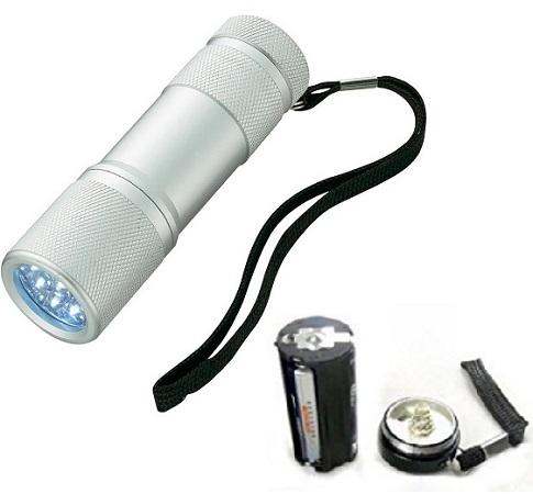 Lanterna  din aluminiu cu 9 LED-uri superluminoase, rezistenta la socuri si umezeala culoare argintie 1