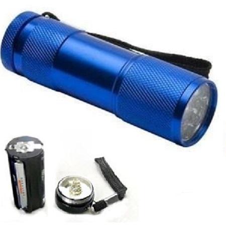 Lanterna  din aluminiu cu 9 LED-uri superluminoase  rezistenta la socuri si umezeala culoare albastra 1
