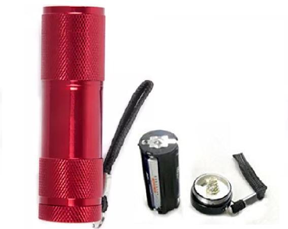 Lanterna  din aluminiu cu 9 LED-uri superluminoase rezistenta la socuri si umezeala culoarea rosie [1]