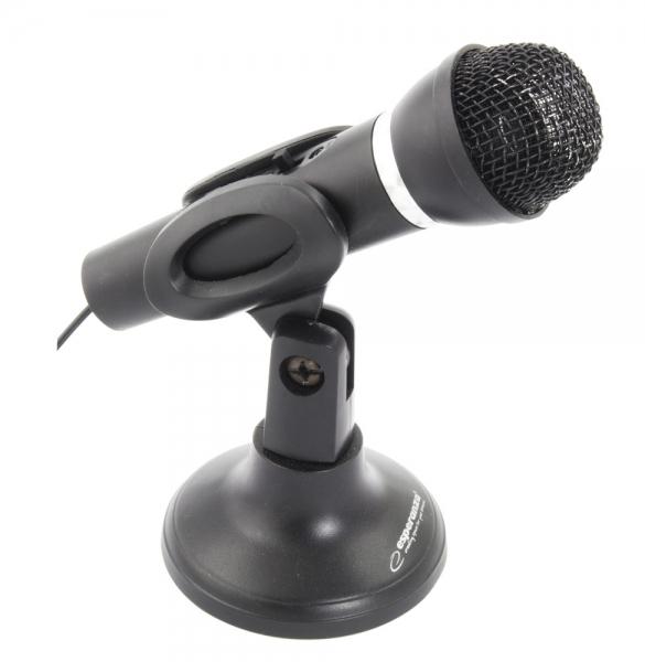 Microfon cu stativ pentru calculatoare si laptopuri Sing, alimentare jack 3.5 mm cablu 1.5m culoarea neagra 0