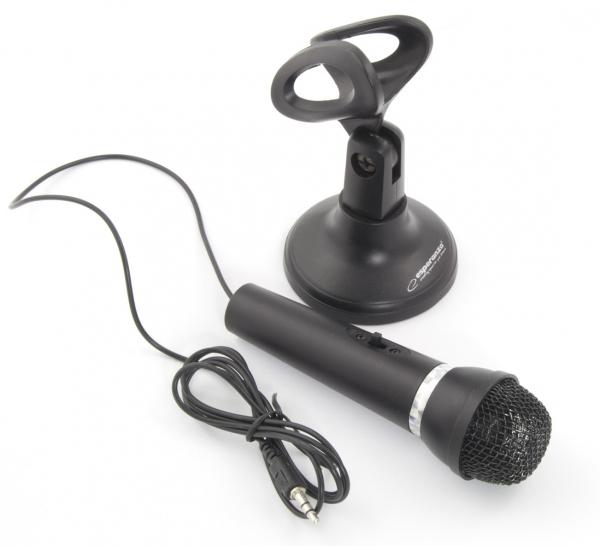 Microfon cu stativ pentru calculatoare si laptopuri Sing, alimentare jack 3.5 mm cablu 1.5m culoarea neagra 1