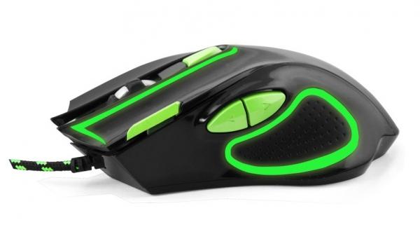 """Mouse gaming optic 7D  cu functie """"Double Click"""" si butoane inainte/inapoi facile culoarea negru cu verde design ergonomic 1"""