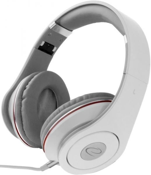 Casti Stereo  Over-Ear cu fir lung de 5m, perne moi cu izolatie fonica perfecta, control volum pe fir, reglaj usor pe dimensiunea capului si pliabile, adaptor mufa jack 3.5 inclus culoare alb cu rosu 0
