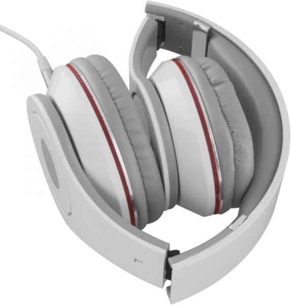 Casti Stereo  Over-Ear cu fir lung de 5m, perne moi cu izolatie fonica perfecta, control volum pe fir, reglaj usor pe dimensiunea capului si pliabile, adaptor mufa jack 3.5 inclus culoare alb cu rosu 1