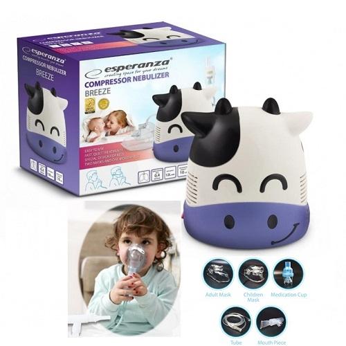 Aparat de aerosoli nebulizator cu aspect de vacuta pentru copii si pentru adulti, cu compresor, kit complet de accesorii inclus 0