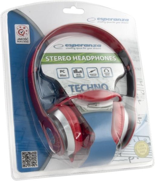 Casti stereo TECHNO RED de inalta calitate, PLIABILE, reglabile, cu control al volumului pe fir, perne moi de inalta calitate rezistenta indelungata impact si frecare 1