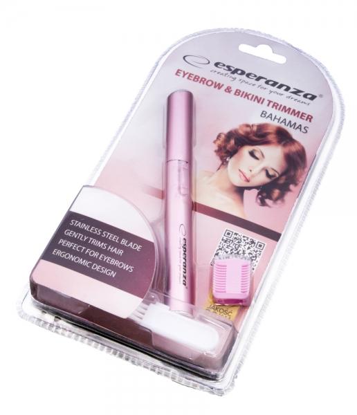 Trimmer (aparat tuns) destinat eliminarii parului inestetic din zona sprancenelor si zona bikini, culoarea roz [1]