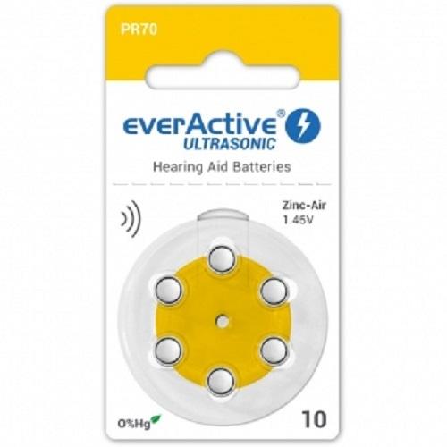 Pachet baterii concepute special pentru aparate auditive  EverActive Ultrasonic A10, blister de 6 0