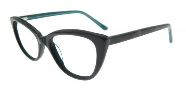 Rame de ochelari, model de dama, design modern, negru cu interior verde, include toc si laveta [2]