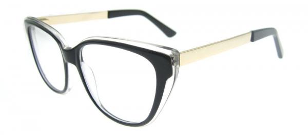 Rame de ochelari, model de dama, design modern, negru cu detaliu auriu, include toc si laveta [1]