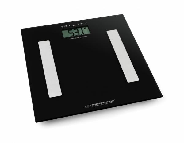 Cantar electronic cu analizator de grasime, 4 senzori precisi, ecran LCD, sticla securizata, negru, 180 kg max + 2 baterii AAA cadou 0
