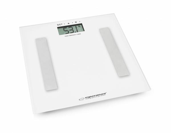 Cantar electronic cu analizator de grasime, 4 senzori precisi, ecran LCD, sticla securizata, alb, 180 kg max + 2 baterii AAA cadou 0