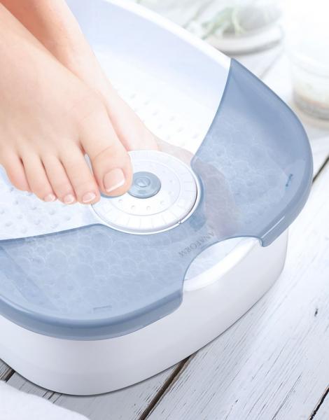 Aparat de masaj pentru picioare, spa cu hidromasaj si vibratii, 60 W, alb-albastru [1]