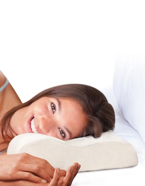Set 2 perne ergonomice cu spuma cu memorie pentru un somn relaxant, 47x30x10 cm 2