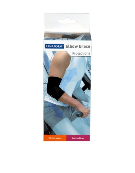 Suport reglabil pentru cot Lanaform, reglabil negru, marime L, protejeaza si sprijina articulatiile, confort total, sistem de strangere reglabil 2