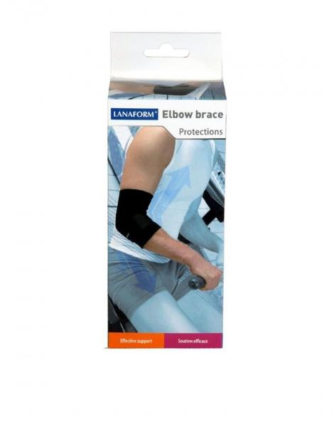Suport reglabil pentru cot Lanaform negru, marime M, protejeaza si sprijina articulatiile, confort total, sistem de strangere reglabil 2