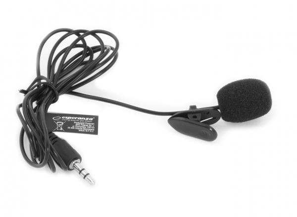 Microfon lavaliera cu clip Voice, caciula antivant si fir Esperanza, compatibil cu toate dispozitivele audio cu port jack 3.5 mm 1