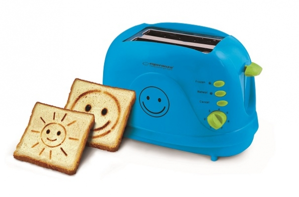 Prajitor de paine cu imprimare desene Smiley Albastru cu 3 functii de la 1 pana la 7 grade diferite de prajire de la moale pana la crocant 0