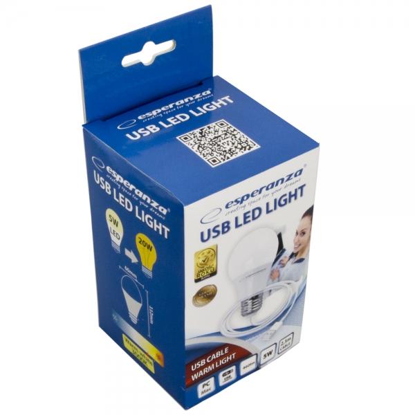 Bec cu LED lumina calda, alimentare la USB, 5W, lungime cablu 2.5m [1]