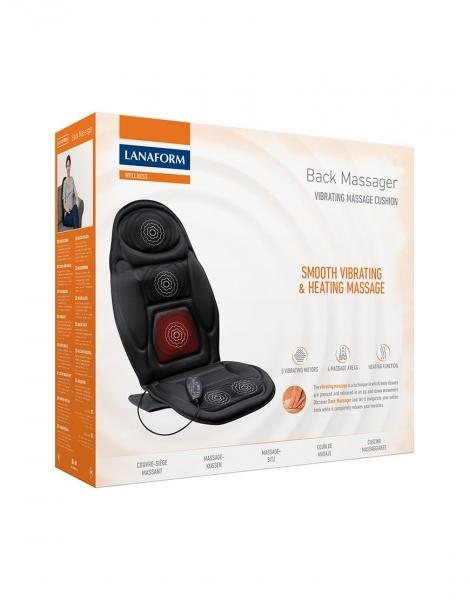 Saltea masaj spate cu vibratii si incalzire Lanaform, 5 motoare, 4 zone masaj, 4 intensitati, timer programabil 4