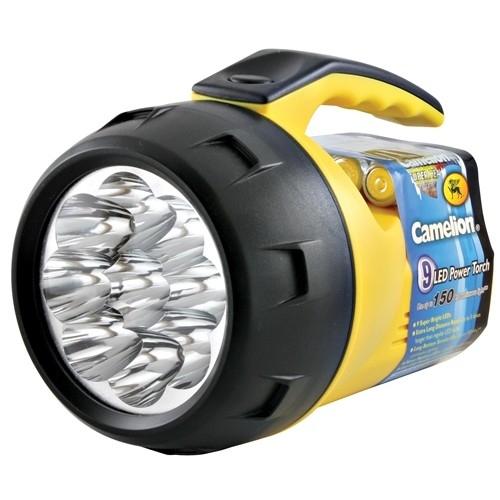 Lanterna de mana cu 9 LED-uri, luminozitate puternica, material rezistent, 4 baterii AA incluse, SuperBright, Camelion [0]