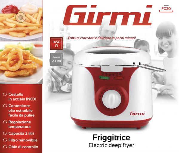 Friteuza Girmi FG20 capacitate 2l, temperatura reglabila, 1450W, alb-rosu 0