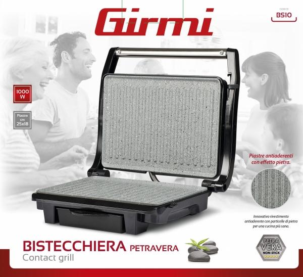 Gratar electric Girmi - BS10 corp din otel inoxidabil, tehnologie Petravera, putere 1000W 4