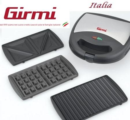 Sandwich maker Girmi 3 in 1 cu placi detasabile, sandwich, gratar, vafe, indicator LED, control automat temperatura 0